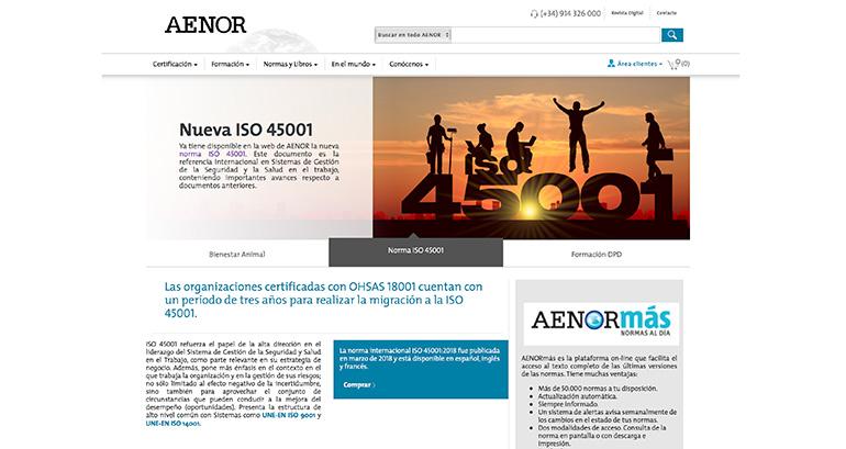 La nueva web de Aenor facilita el acceso a sus servicios
