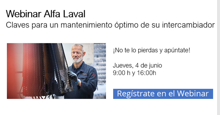 Webinar de Alfa Laval sobre mantenimiento de intercambiador el 4 de junio