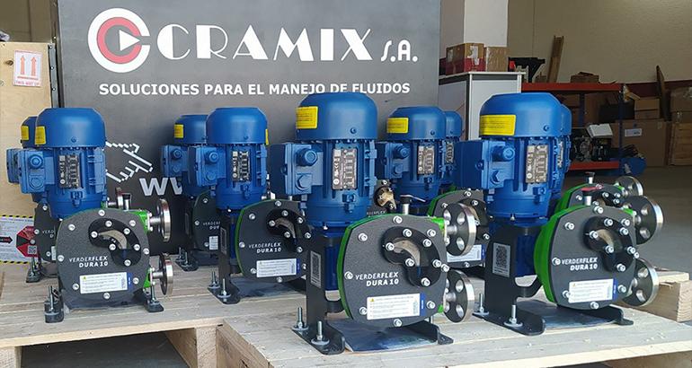 Cramix suministra diez bombas peristálticas para dosificación de fluidos